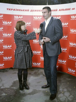 Klitschko speaks to the media yesterday prior to his electoral disappointment