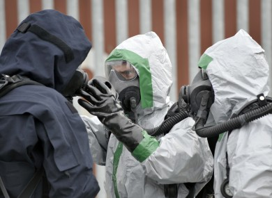 FILE: The Defence Forces conduct a Chemical Biological Radiological Nuclear (CBRN) Improvised Explosive Device Disposal (IEDD) exercis