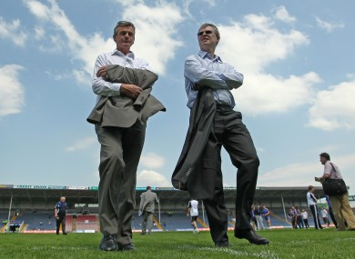 Joe Brolly (right) with Colm O'Rourke earlier this year.