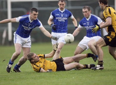 St Eunan's and Naomh Conaill players battle for possession in today's game.