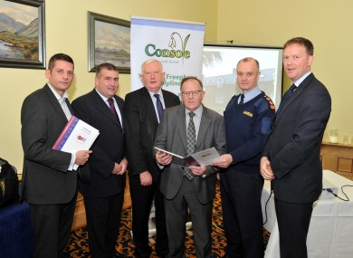 Ciarán Austin, Director of Services, Console; Patrick O'Sullivan, Chairman Kerry County GAA Board; Frank Hayes Kerry Group PLC; Terence F Casey Coroner; Pat Sullivan C/super Kerry and AJ Spring TD