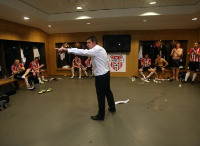 Devine speaks to his players after Sunday's FAI Cup win.