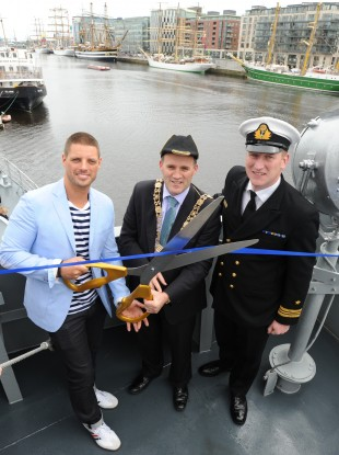The Lord Mayor of Dublin, Naoise Ó Muirí (centre) at the Dublin Tall Ships: