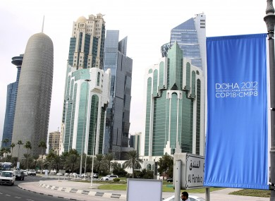 Conference flags are displayed ahead of the Doha Climate Change Conference, in Doha, Qatar.