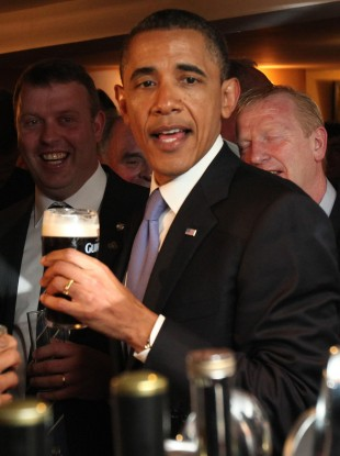 Obama enjoying a pint of Guinness on his last trip to Ireland in May 2011.