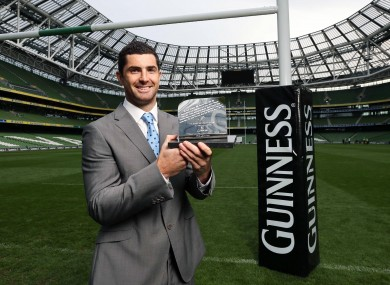 Rob Kearney with his award yesterday.