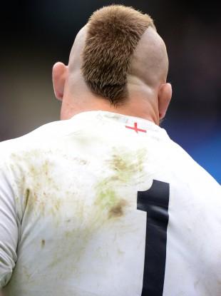 The back of England's Joe Marler's head.