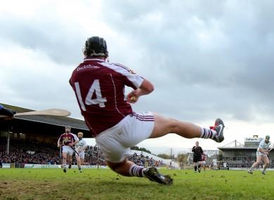 Dicksboro's Shane Maher saves a Henry Shefflin penalty in the Kilkenny SHC decider yesterday.