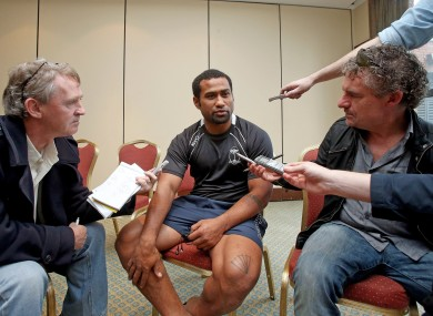 Fiji's Tuapai Talemaitogo is interviewed by Irish rugby journalists this week.