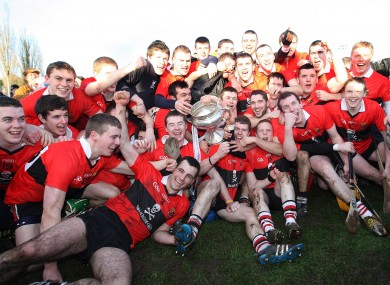 The UCC team celebrating their Fitzgibbon Cup win last March.