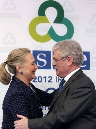 Tánaiste Eamon Gilmore greets Secretary of State Hillary Clinton at the RDS in Ballsbridge.
