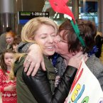 Cila Mooney is welcomed by her mother Lilly from Galway after traveling home from Toronto for Christmas today at Dublin Airport. Photo: Mark Stedman/Photocall Ireland