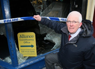 Alliance MLA Stewart Dickson in Carrickfergus, Co Antrim beside his office which was attacked last night.