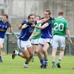 Cavan celebrations. Eugene Keating celebrates striking home the Breffni county's third goal in their qualifier match with Fermanagh in Brewster Park. (Andrew Paton/Presseye.com).