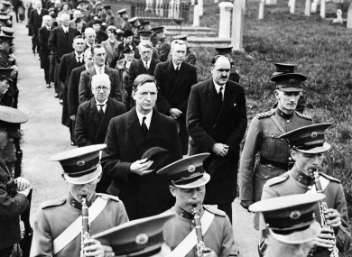 Taoiseach Eamon De Valera, who would later dismiss soldiers for desertion, and his cabinet with