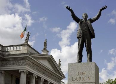 The statue of Irish trade union leader and socialist activist James Larkin on Dubiln's O'Connell Street.