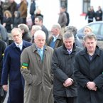 Minister Jimmy Deenihan (centre) and former Kerry footballer John O'Keeffe (second from left) pictured at Páidí Ó Sé's funeral.