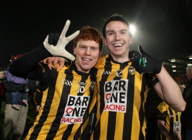 Kyle Carragher and Tony Kernan of Crossmaglen celebrate at the end of the game.