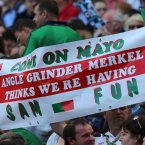 A simple message from the Mayo fans in Croke Park. (INPHO/Lorraine O'Sullivan).