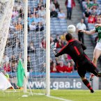 The goal that seals Mayo's passage to the All-Ireland semi-final.  Andy Moran and Cillian O'Connor create the opening for Michael Conroy who palms the ball to the net. (INPHO/James Crombie)