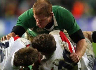 Paul O'Connell of Ireland over Jonny Wilkinson and Tom Rees of England in 2007.