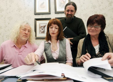 Independent TD Mick Wallace, Socialist TD Clare Daly, Independent TD Luke Ming Flanagan and People Before Profit TD Joan Collins at yesterday's press conference.