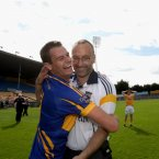 Progress. It was a novel campaign for Tipperary as they moved through the qualifiers. Here manager Peter Creedon and forward Alan Maloney celebrate their latest win.