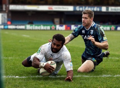 Montpellier's Timoci Nagusa scores in the corner against Cardiff Blues during the Heineken Cup Pool Six match.