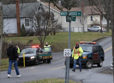 Emergency response unit blocks a road in Geeseytown, Pennsylvania yesterday.