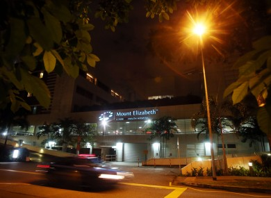 Mount Elizabeth Hospital in Sinapore where the woman died this evening.