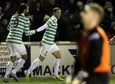 Celtic's Adam Matthews celebrates his goal with team mate Georgios Samaras (left).