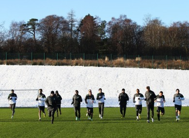Celtic's players during a training session at Lennoxtown, Glasgow.