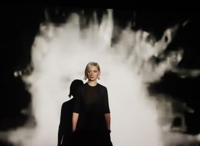 Turner prize winner Elizabeth Price in front of her video installation last night