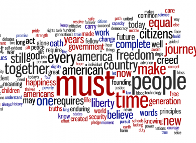 A word cloud of Obama's speech.