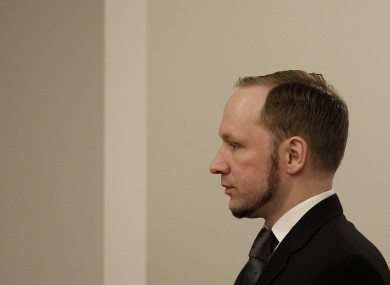 Anders Behring Breivik in the courtroom during his trial last August