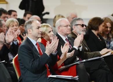 Fianna Fáil's Micheál Martin and Averil Power, and Sinn Féin's Martin McGuinness and Gerry Adams, at the Constitutional Convention's first meeting in Dublin Castle last month.