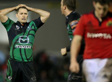 Dan Parks is dejected after the home loss to Munster.