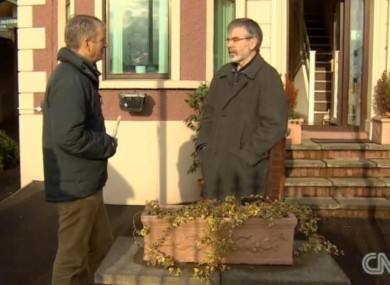 Gerry Adams during his interview with CNN's Nic Robertson