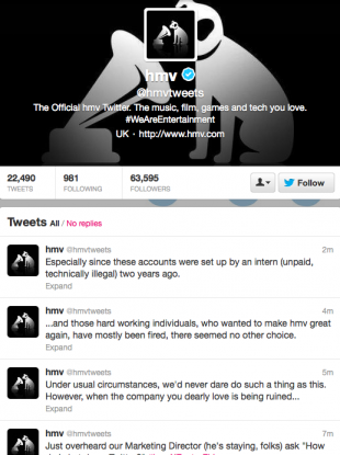 The tweets posted by a newly-redundant user were deleted shortly afterwards.