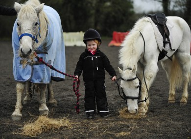 Three-year-old Kasey Lou Carberry at the launch of the ISPCA Hay Drive yesterday.