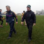 Loyalties are torn - part 1. Current Wexford manager Aidan O'Brien with former Wexford manager and current Kildare selector Jason Ryan.