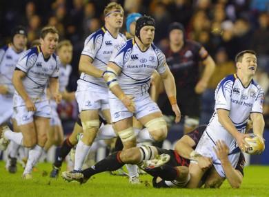 Sean O'Brien runs in support of Jonny Sexton.