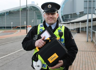 Keith Pedreschi of Dublin Airport Police with one of the life-saving defibrillators.