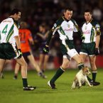 Kerry's Kieran Donaghy uses his boot with Tyrone's Sean Cavanagh and Galway's Joe Bergin watching on.