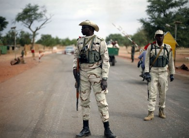 Malian solders at a checkpoint in the north of the country.
