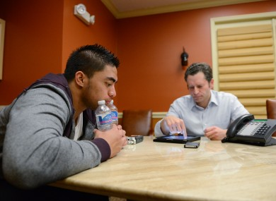 Notre Dame linebacker Manti Te'o pauses during an interview with ESPN's Jeremy Schaap last weekend.