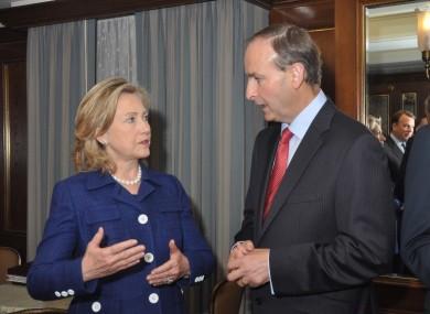 Hillary Clinton with Micheál Martin in September 2010.