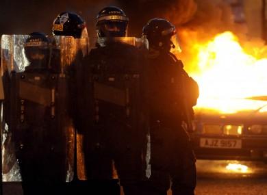 Last night's violent scenes in Belfast.