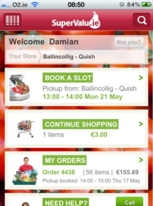 The homepage of the new SuperValu app