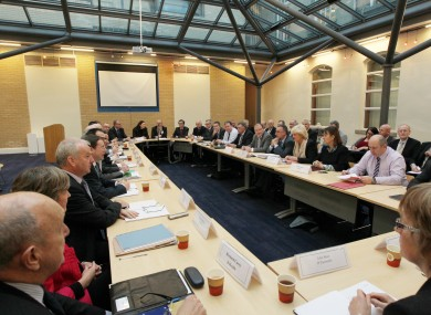 Union representatives meet with the Department of Public Expenditure and Reform last month, at the beginning of the talks on Croke Park II.